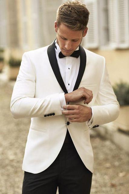 Hot Sale Ivory Men Suits With Black Lapel Wedding Tuxedos Custom