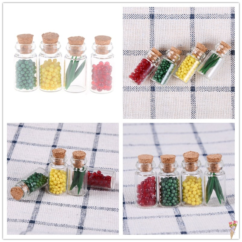 Home Enthusiastic New 4 Pcs Doll Home Decor Miniature Food Cork Bottle For Doll House Clear Glass Resin Kitchen Food For Girl Birthday Gift Convenience Goods