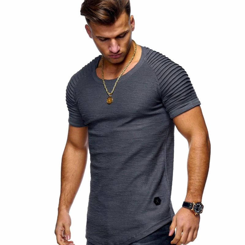 2019 New Short-sleeved Solid Color Men's T-shirt Pleated Shoulder Jacquard Stripes Slim T-shirt Men's Casual Sports Wild T-shirt