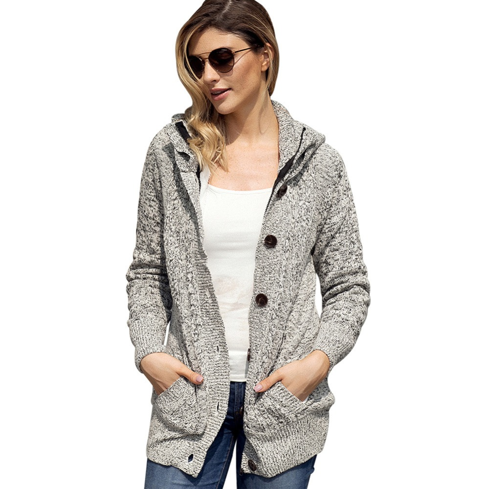 2018 Women Yoga Sweater Coat Fitness Running Long Sleeve Hoodies Sweatershirt Womens Hooded Knit Cardigans Button Cable Sweater