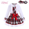 Pettigirl Grid Girl Clothing Sets Lace Collar Blouse With A-line Bow Skirt Children Autumn Clothing With Headbands G-DMCS908-959