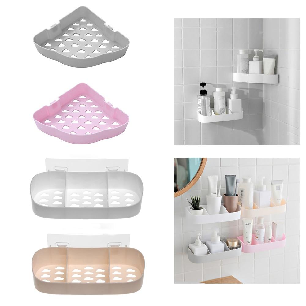 Adhesive Shower Gel Bathroom Shelf Corner Storage Rack Shampoo Organizer