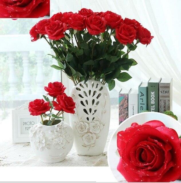 Water Drop Rose Silk Craft Flowers Real Look Flowers For Wedding