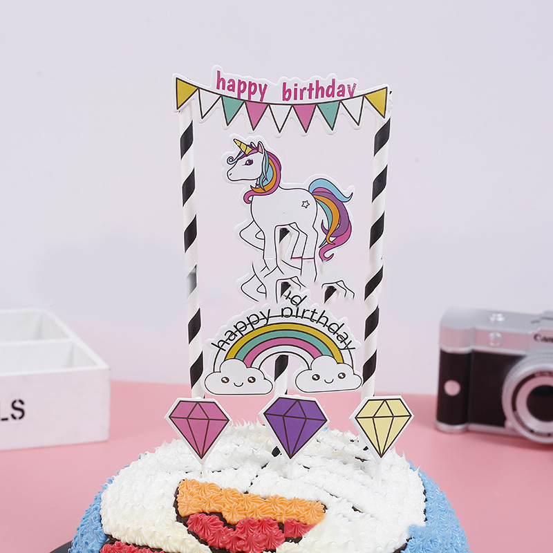 Kids Girl Favors Decoration Baby Shower Unicorn Cupcake Flags Birthday Party Paper Horse Cake Banner Toppers With Straws 1 PACK
