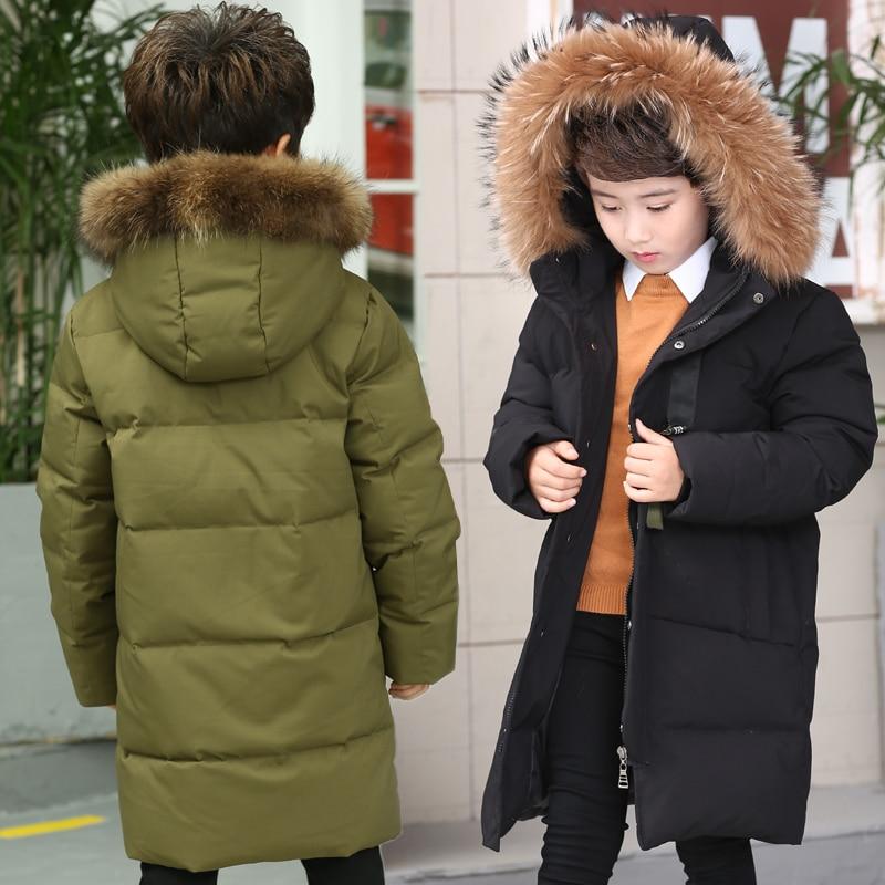 28ec663eca371 Big Boys Winter Jackets True Fur Hooded Down Coats For Boys Thicken  Outerwear Warm Down Parkas Jackets For 7-13 Year