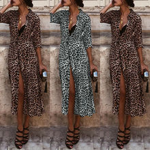 Women Leopard Print Maxi Dress Lady Long Sleeve V Neck Party Wrap Shirt Dress flower print flutter sleeve wrap dress