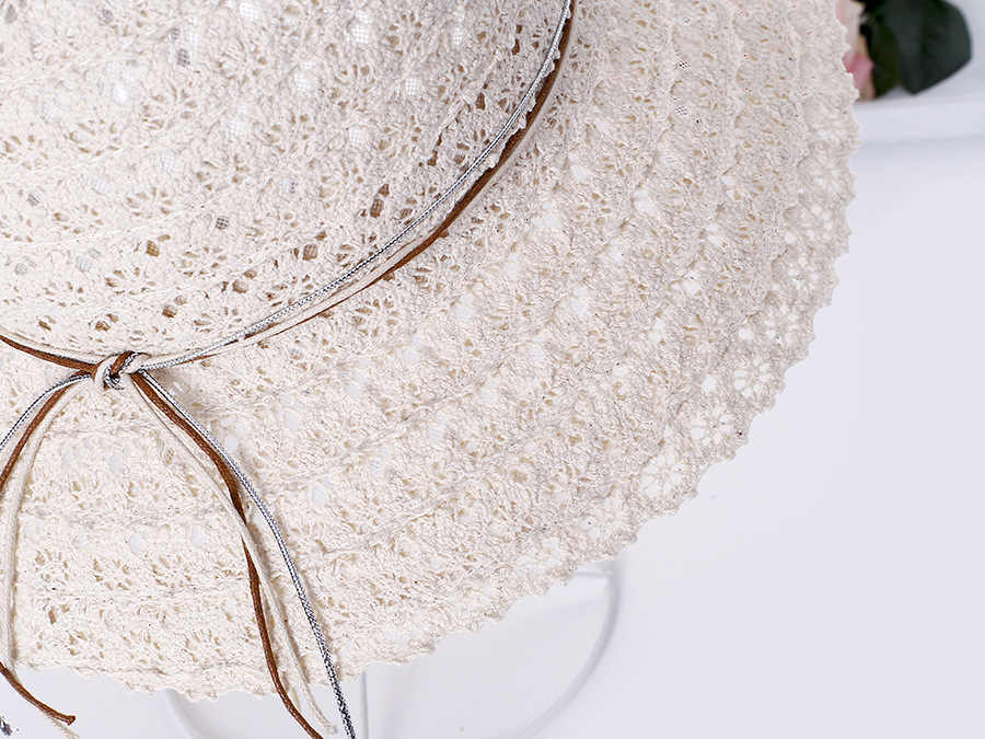 Summer Anti-UV Women's Sun Hat Rope Line Bowknot Decor Flanging Collapsible Hat Beach Caps Head Circumference Curved Cap