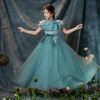 Royal Princess Dress Ball Gown Appliques Flower Girl Dresses for Wedding Floor Length First Holy Communion Dress for Girls B36