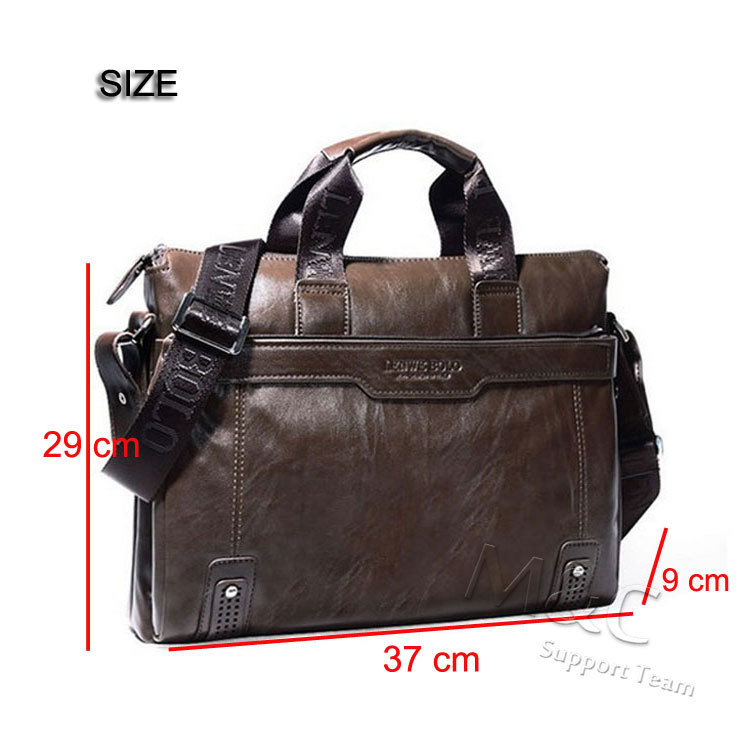 M&C Men's Leather Briefcase Brand Messenger Bag Leather Office ...