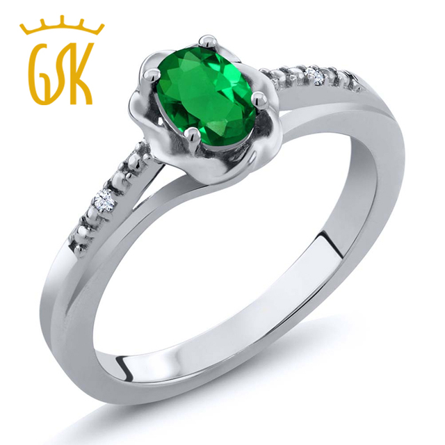 ee27645d50a9 GemStoneKing 0.42 Ct Oval Simulado Esmeralda Creado Zafiro Blanco 925 anillo  de Plata Anillo de Moda