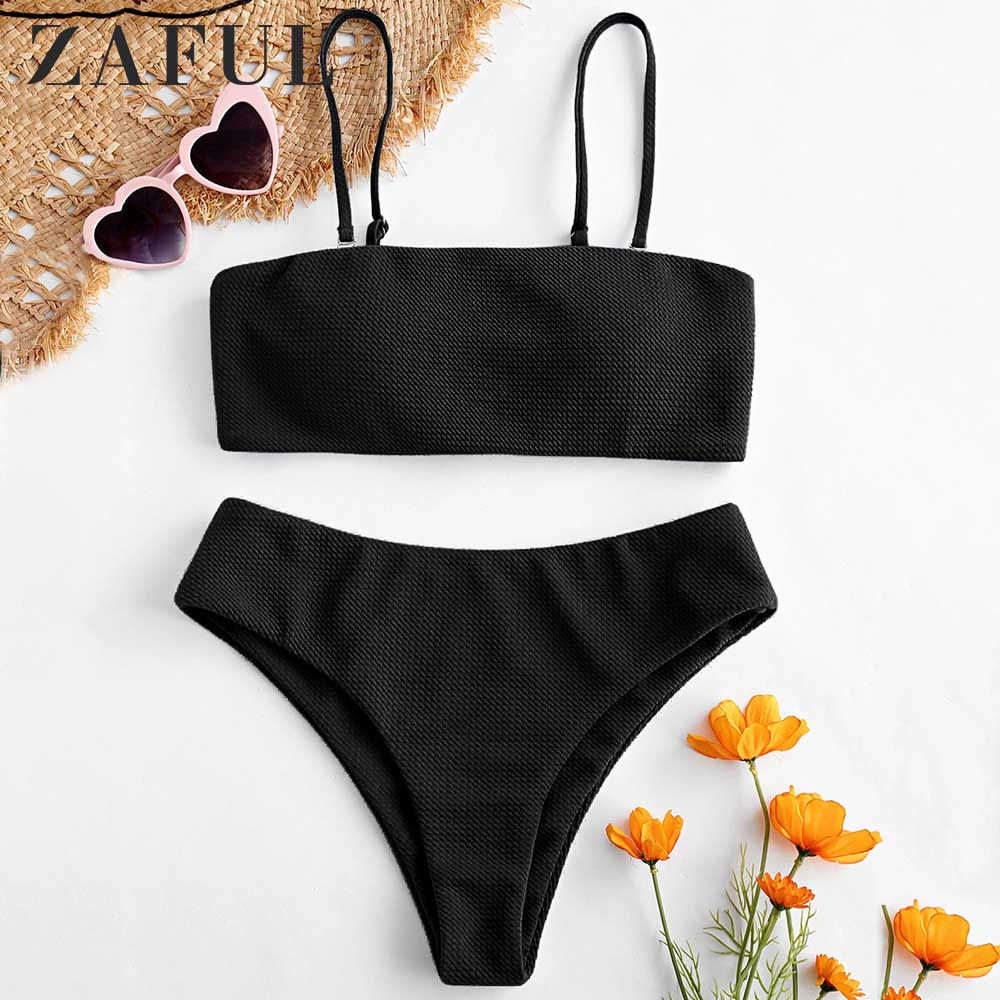 ZAFUL Bikini Textured Padded Bandeau Bikini Set Solid Classic Women Swimsuit Wire Free Spaghetti Straps Push Up Swimwear 2019