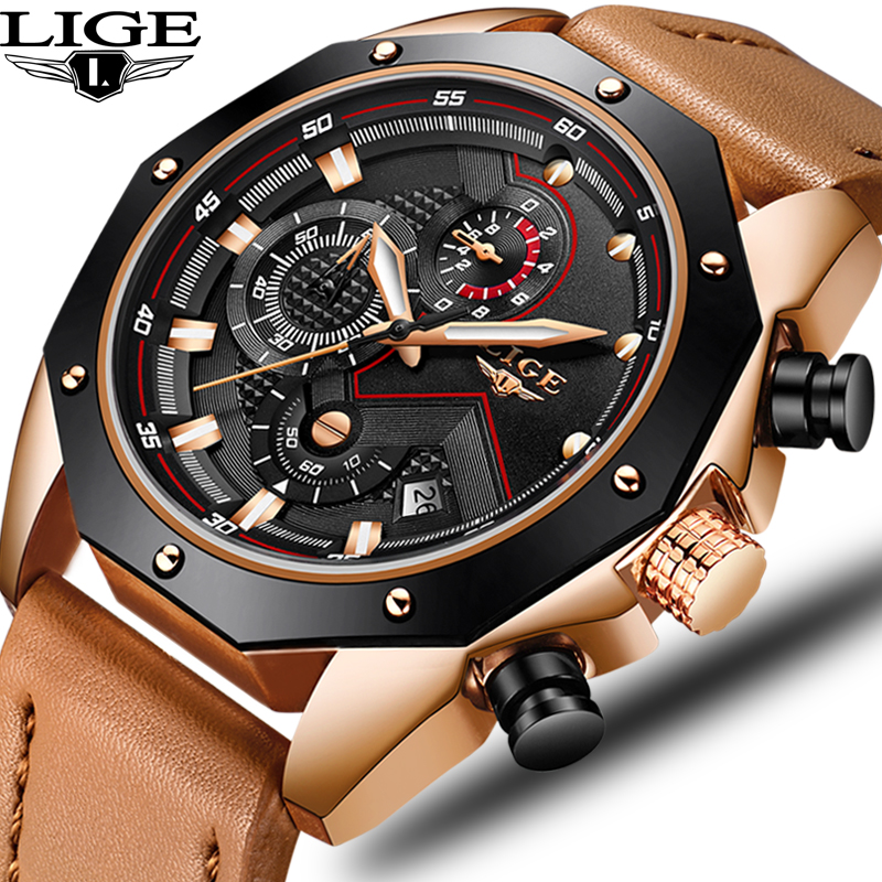 LIGE 2018 Mens Watch Top Brand Luxury Leather Quartz Watches Men Fashion Waterproof Sport Military Wristwatch Relogio MasculinoLIGE 2018 Mens Watch Top Brand Luxury Leather Quartz Watches Men Fashion Waterproof Sport Military Wristwatch Relogio Masculino