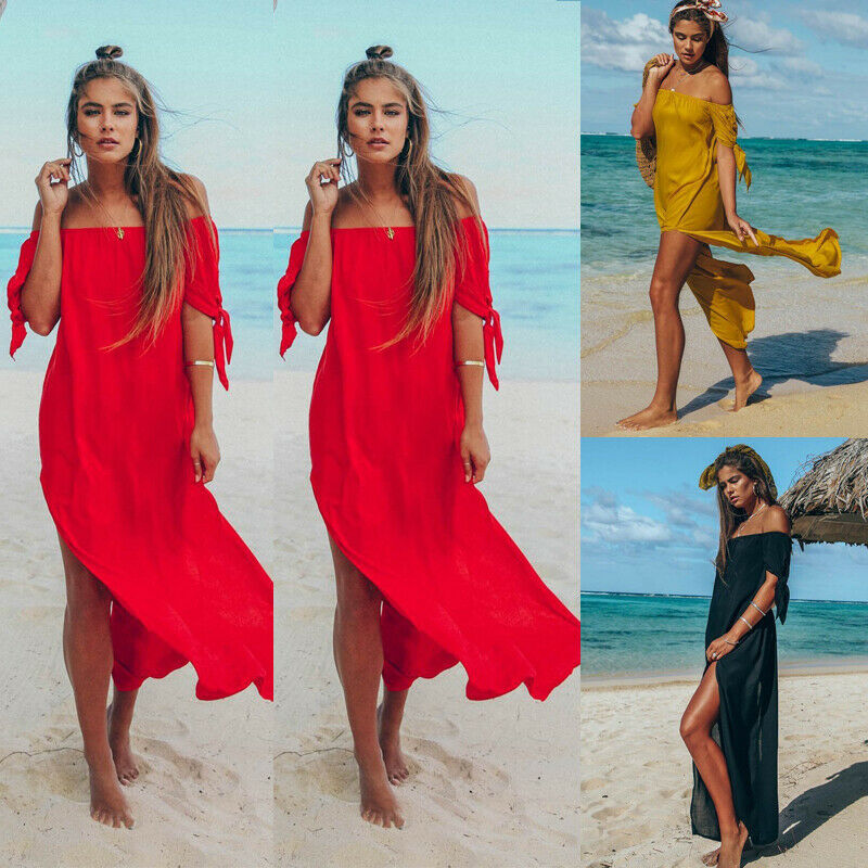 Sexy Off Shoulder Women Tunic Beach Dress Swim Suit Short Sleeve Solid Cover Up Summer Maxi Beach Dresses For Women Swimsuits(China)