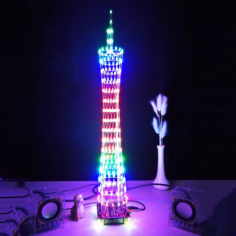 WOTT DIY LED LightCanton Tower Suite Wireless Remote Control Electronic Kit Music Spectrum Soldering Kits DIY Brain-training Toy