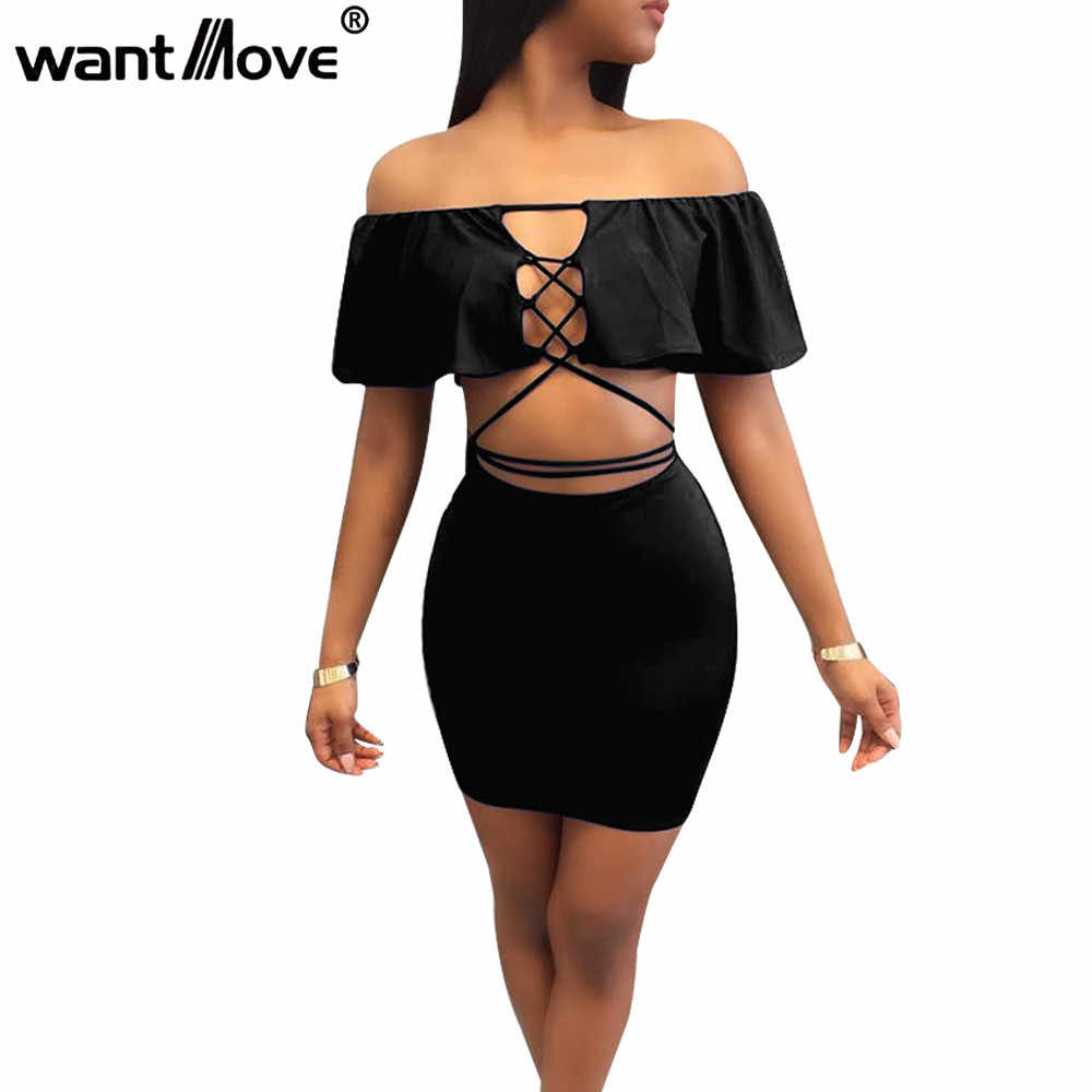 24c5dff6bbeb Wantmove sexy women lace up ruffled elegant dress 2018 summer fashion off  the shoulder 2 pieces
