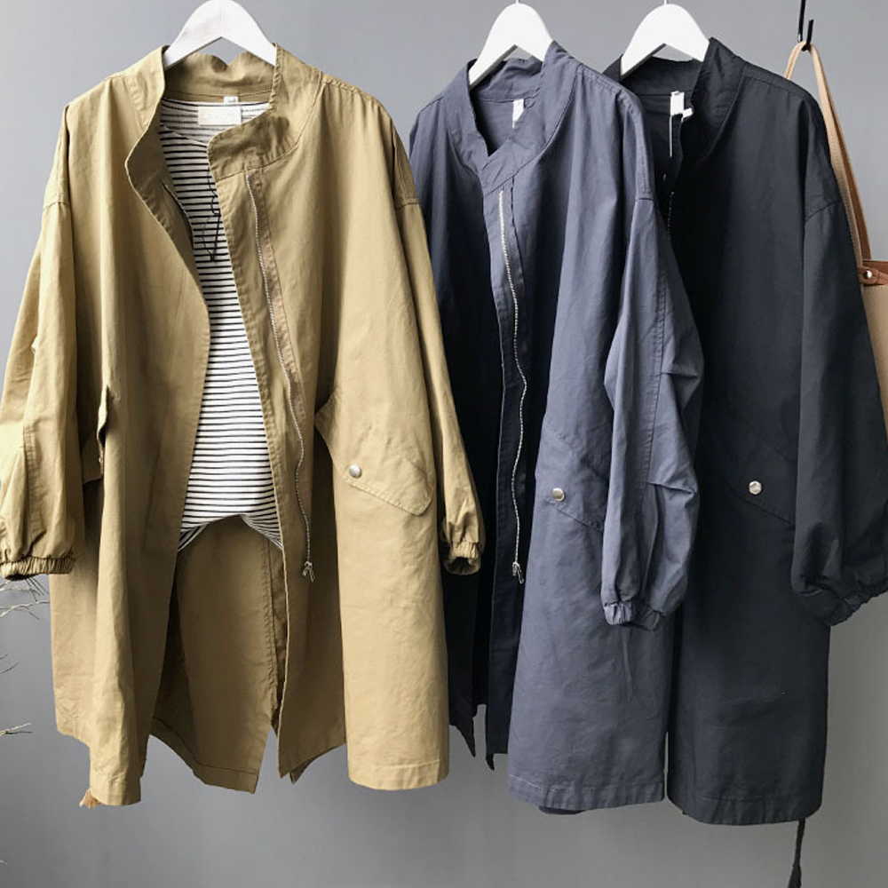 Oversize Women's long Korean trench coat BF wind rope washing cotton coats Super Large size ladies' Early autumn new