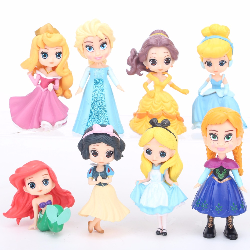 8 pcs/set Queen Princess Cinderella Elsa Anna little mermaid Snow white Alice Princess PVC Figures Toys children Gifts росмэн 500 наклеек собаки