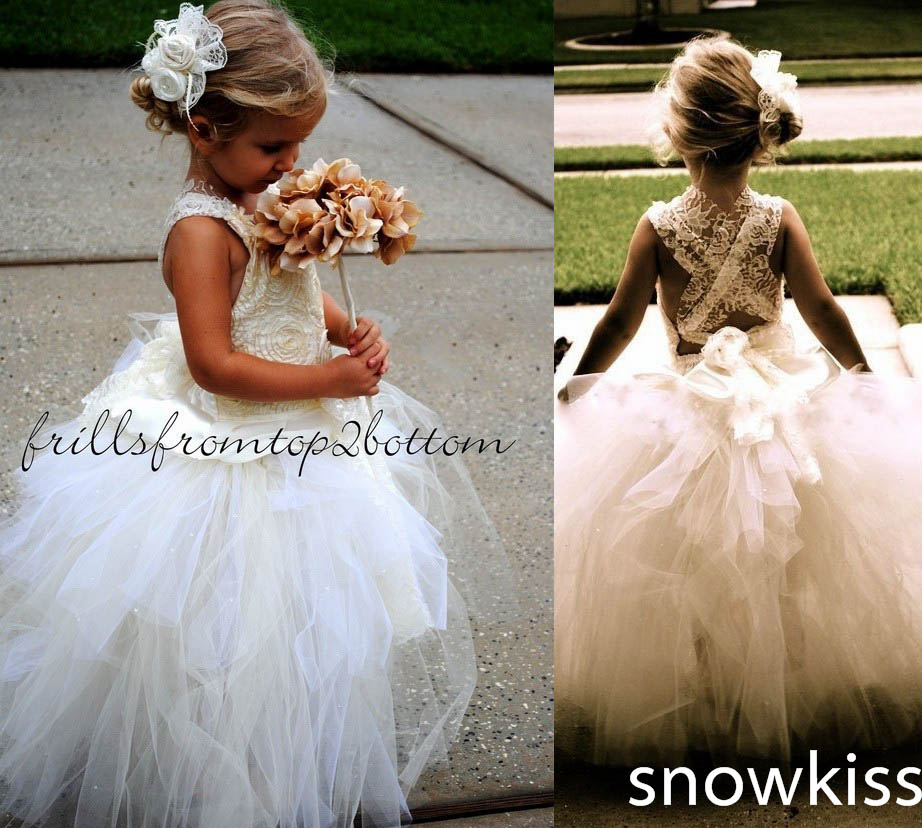 Haute Couture Criss-Cross Sheer Lace Puffy Ball Gowns white/ivory Tutu Flower Girl Dress first communion gown criss cross lace panel long sleeve dress