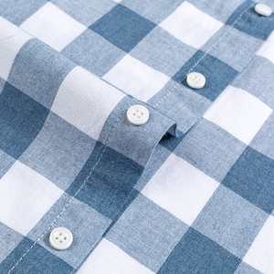 Image 5 - England Style Plaid Checkered Cotton Shirts Single Patch Pocket Long Sleeve Standard fit Button down Mens Casual Striped Shirt