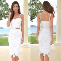 Free shipping Retro Knee length Lace Two piece suit Party Dresses Spaghetti strap wedding Dresses