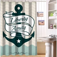 Original Waterproof Polyester Bath Curtain Custom Liberty Amity Vintage Nautical Anchor Shower Curtain 48 X 72