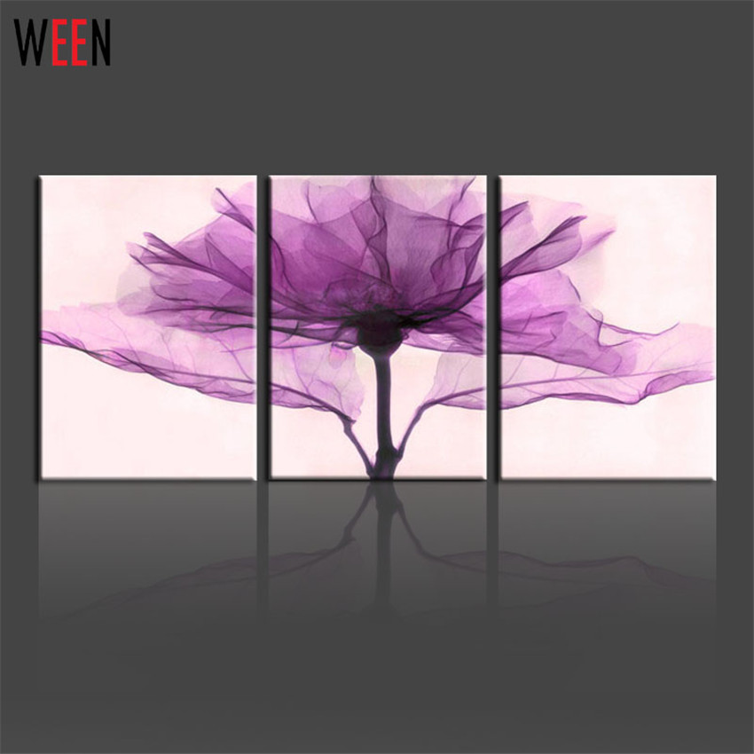 3 Pieces Art Picture Only Canvas Purple Style Simple Printing Wall Pictures On Canvas Home Decor No Frame Modern Canvas Painting
