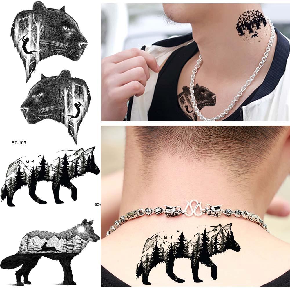 Forest Temporary Tattoo Men Fashion Black Small Wolf Tattoo Stickers Women Wolf Cheetah Water Transfer Fake Tatoos Body Arm Neck