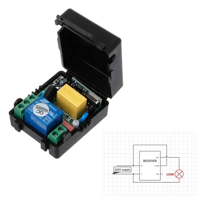 OOTDTY AC 220 V 10A 1CH RF 433 MHz Không Dây Điều Khiển Từ Xa Chuyển Receiver + Transmitter Kit