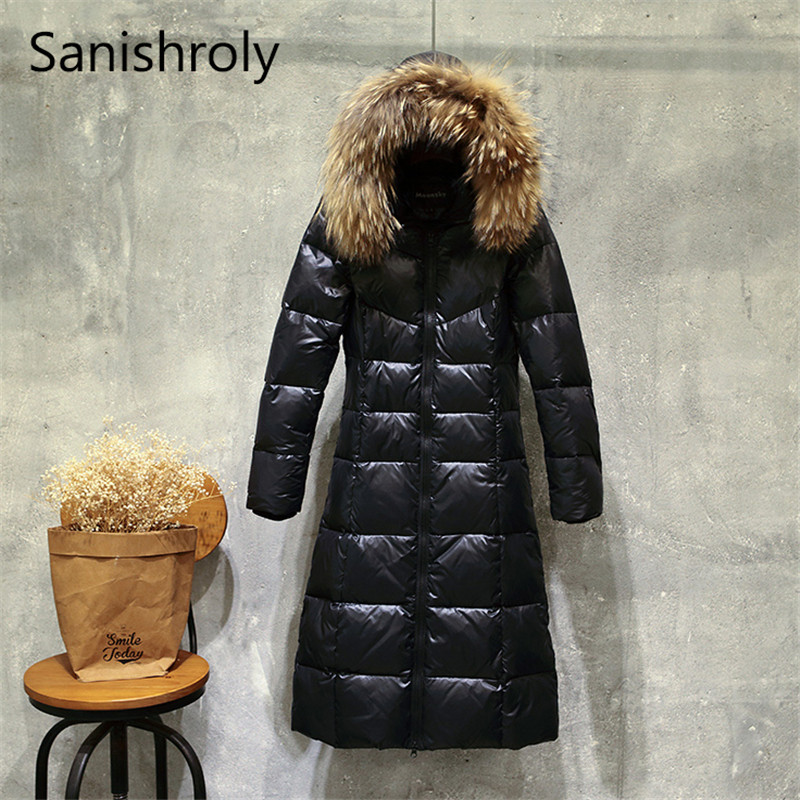Sanishroly New Winter Women Big Fur Collar Hooded Coat Thicken White Duck Down Jacket Parka Female Long Outerwear Plus Size S412
