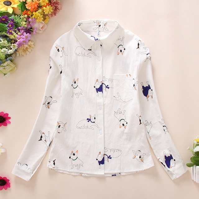 Women's Dog Patterned Long Sleeved Blouse