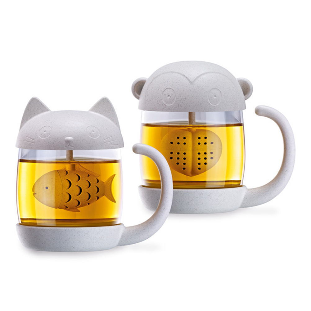 Cat Tea Coffee Mug With Fish Infuser Glass Cup for Home Office Kitchen Cafe