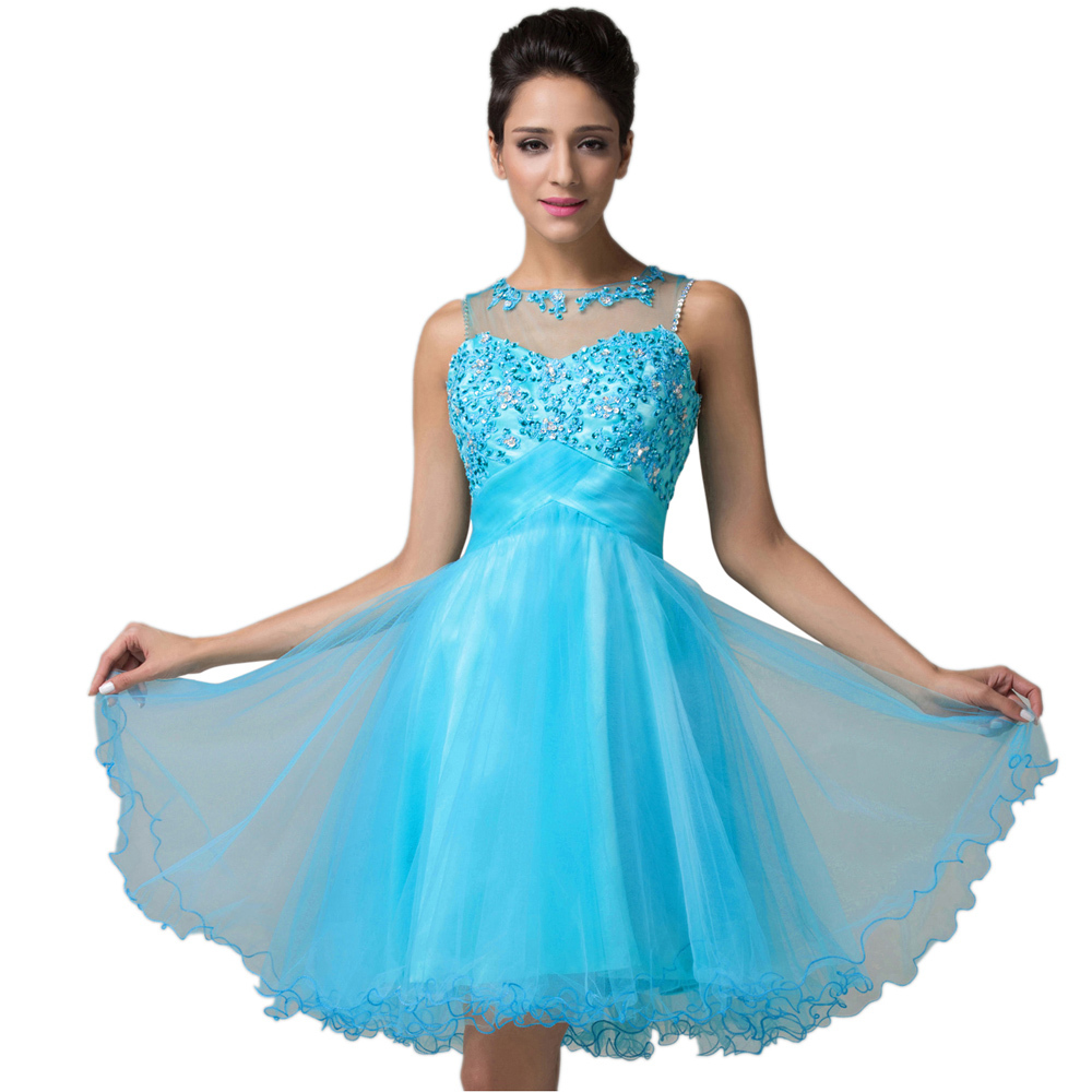 Vestidos de Coctel Blue Pink Lace Ball Gown Sleeveless Robe Cocktail Dress Short party dresses Formal Prom Gowns Organza 6151 - Grace Karin Evening Co. Limited store