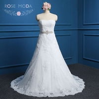 Strapless Sweetheart Lace A Line Wedding Dress With Crystal Sash Real Photos High Quality