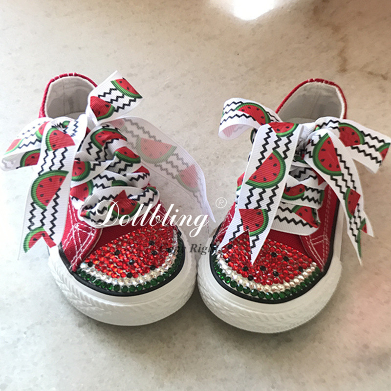 0fdf5196aa73 Custom Handmade Watermelon Rhinestones Low-top Canvas Bling brand Kid casual  flats Children crystal Sport Shoes Boys Sneakers
