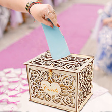FENGRISE Rustic Wedding Card Box Birthday Decor Table Weeding Decoration For Party Invitations Baby Shower Event