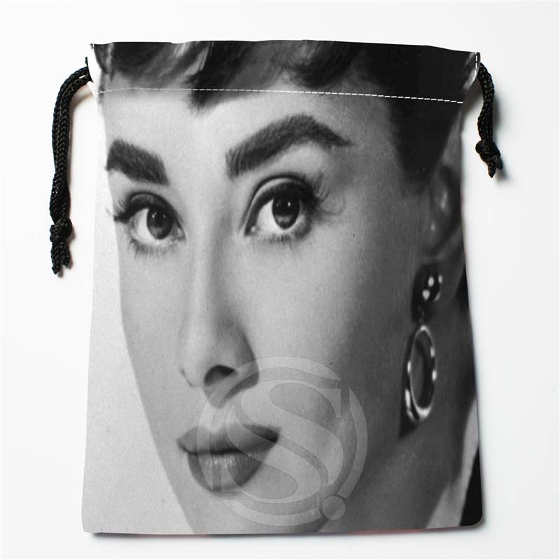 N#R5 New Audrey Hepburn Custom Logo Printed  Receive Bag  Bag Compression Type Drawstring Bags Size 18X22cm 712&y#R5