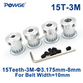 POWGE 15 зубьев HTD 3M синхронный шкив Диаметр 3 175/4/5/6/6. 35/7/8 мм для ширины 10 мм 3 м зубчатый ремень HTD3M шкив шестерня 15 T