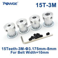 POWGE 15 שיניים HTD 3M סינכרוני גלגלת שעמם 3.175/4/5/6/6.35/7 /8mm עבור רוחב 10mm 3M HTD3M גלגלת הילוך 15 T 15 שיניים