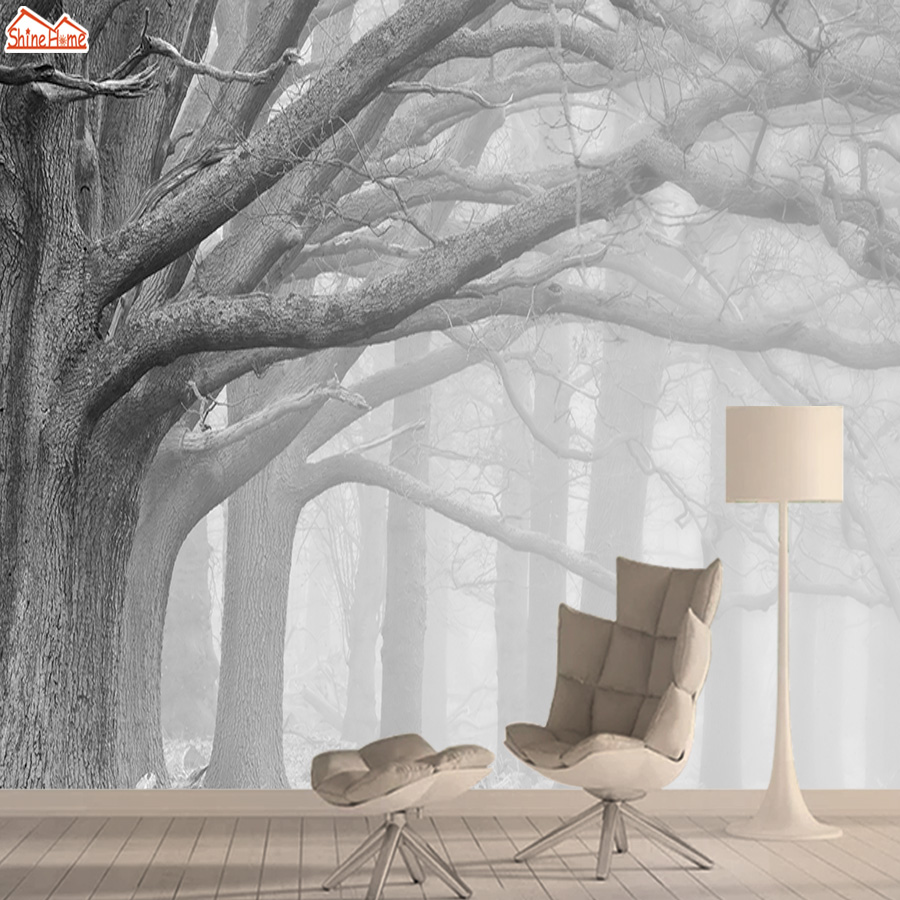 Foggy Forest Wall Paper Papers Home Decor 3d Nature Wallpaper Mural Wallpapers For Living Room Girls Peel And Stick Murals Rolls