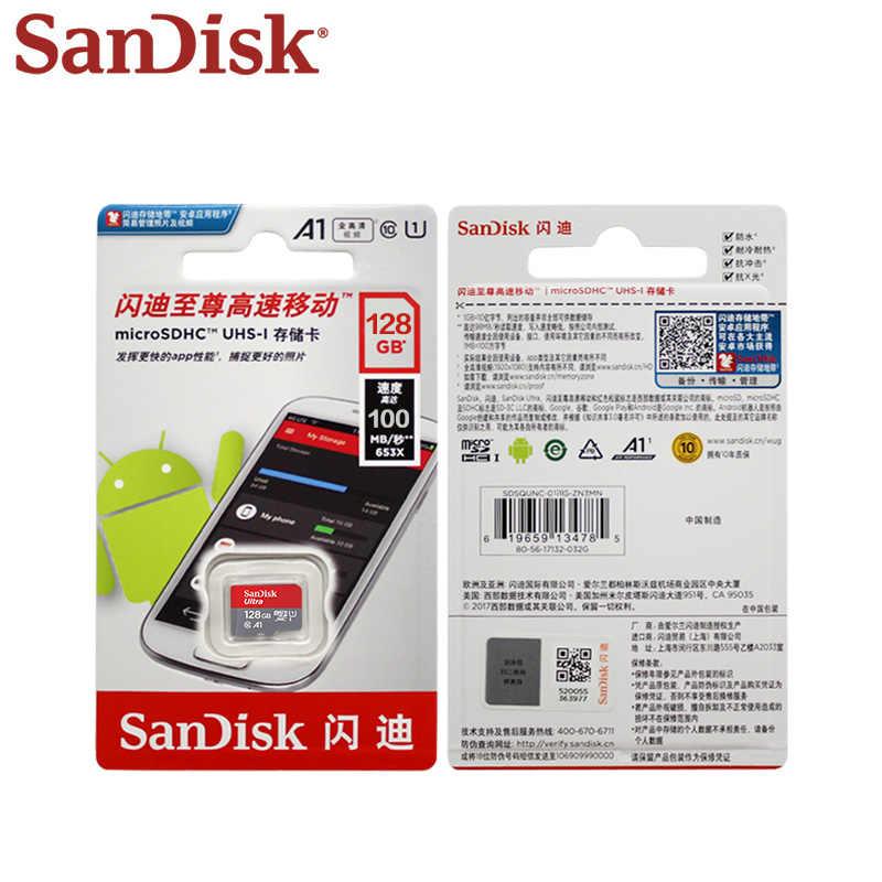 Tarjeta Micro SD Original SanDisk A1 16GB 32GB 64GB 128GB hasta 100 MB/S tarjeta TF SDHC/SDXC nueva llegada tarjeta de memoria Uitra C10
