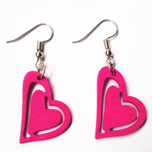 2016 Colorful Carving wood Heart font b Earrings b font Handmade Red Green Blue Orange font