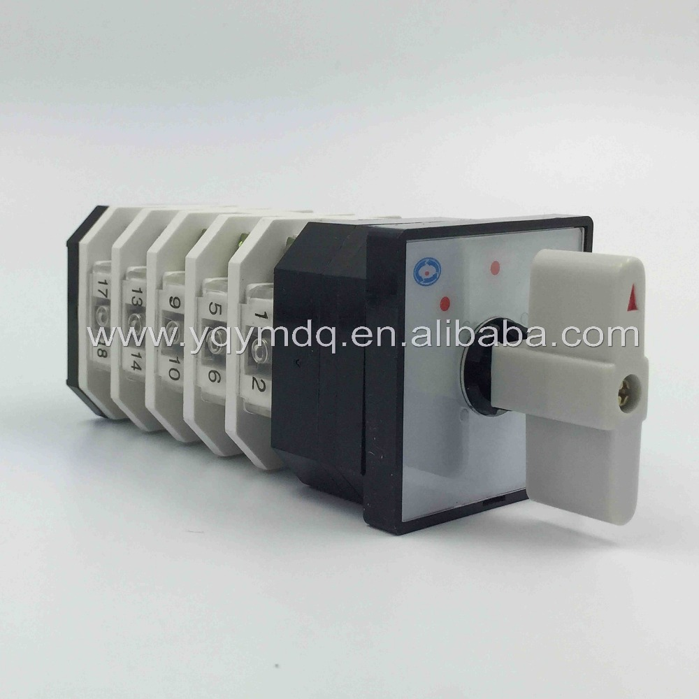 Rotary switch 3 position LW12-16/5 universal switch 16A 5 poles 20 Terminal white rotary changeover cam switch silver contact load circuit breaker switch ac ui 660v ith 100a on off 3 poles 3 phases 3no 2 position universal rotary cam changeover switch
