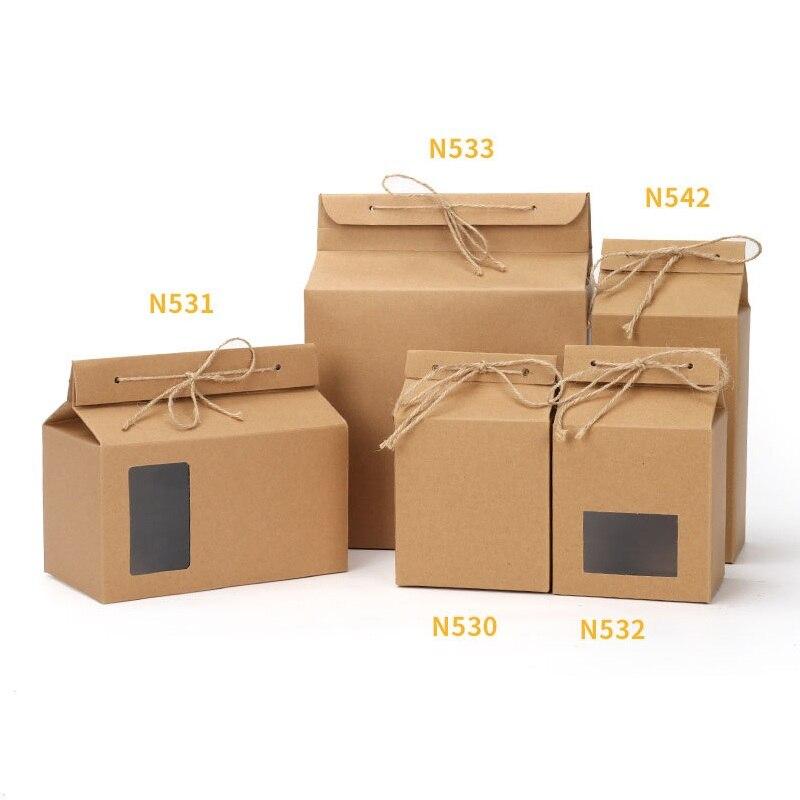 100pcs lot Tea packaging cardboard kraft paper bag Clear Window box For Cake Cookie Food Storage