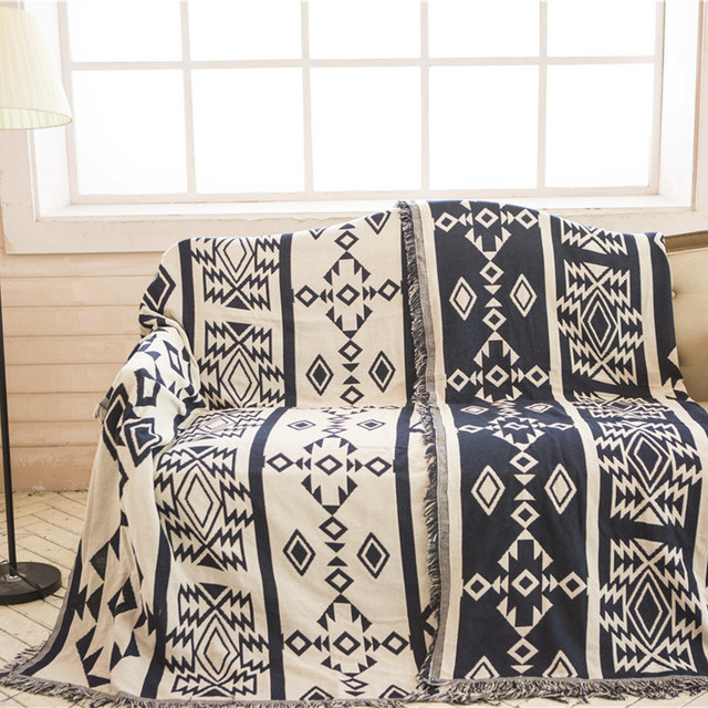 Bohemian Sofa Throw Blanket Boho Knit Chair Cover Towel Geometric Carpet Soft Cotton Travel Plaids