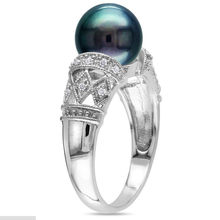 925 Sterling Silver Filled Ring With High Quality Black Pearl Wedding Rings For Women And Men Jewelry Fashion Jewelry(China)