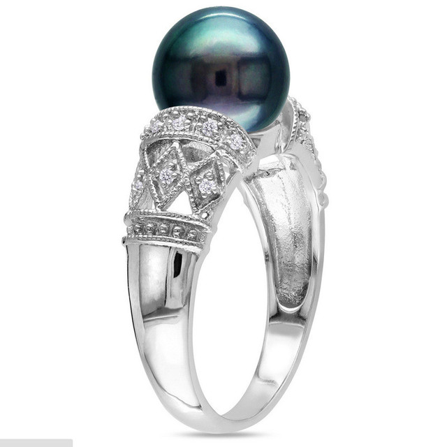925 Sterling Silver Filled Ring With High Quality Black Pearl Wedding Rings For Women And Men Jewelry Fashion Jewelry