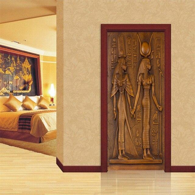 Купить европейский стиль ретро стикер двери 3d египетские скульптурные картинки цена