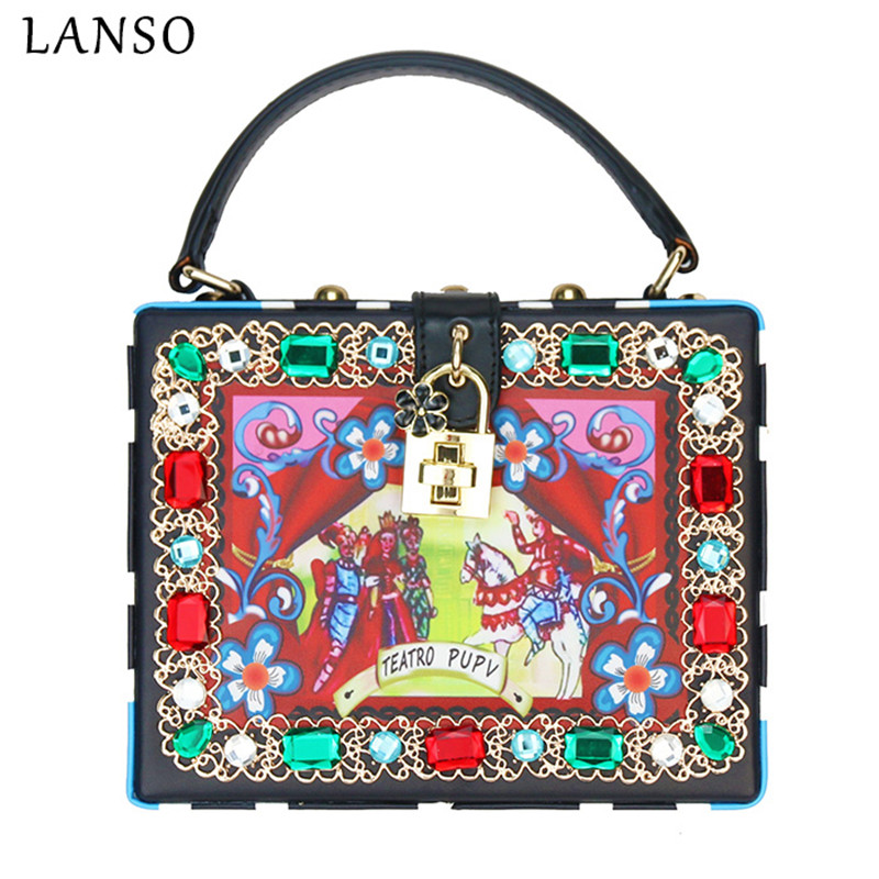 LANSO Diamond Characters Printing Women Mini Tote Fashion Box Handbags Lock Clutch Evening Bag Luxury Crossbody Clutches Bags fashion box evening bag oil painting flower black lock clutch bag strap mini tote bag ladies purse trunk white women handbags