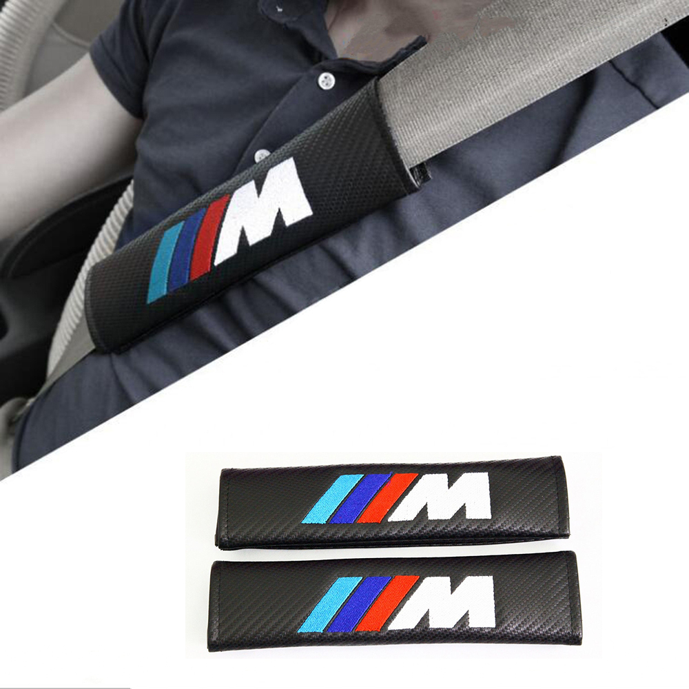 Car Seat Belts Covers Padding M Styling Carbon Fiber