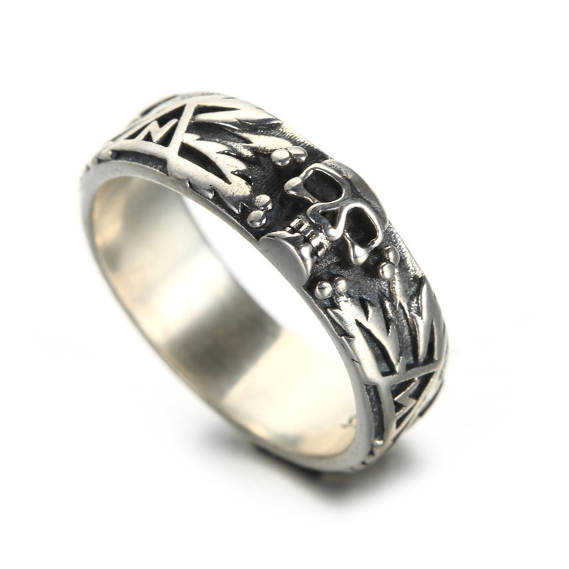 European and American men's 925 silver jewelry skull ring free shipping